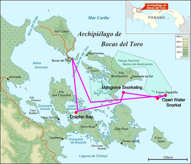 Kaart van de eilanden van de archipel van Bocas del Toro in Panama met snorkelen route